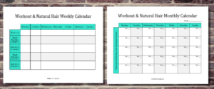 Workout and Hair Wash Routine Calendar
