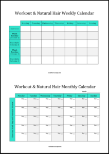 Workout & Natural Hair Calendar