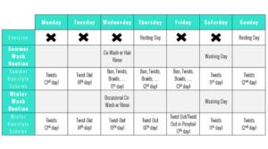 Workout And Natural Hair Weekly Calendar
