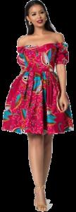 GrassFields African Print Tambara Midi Dress